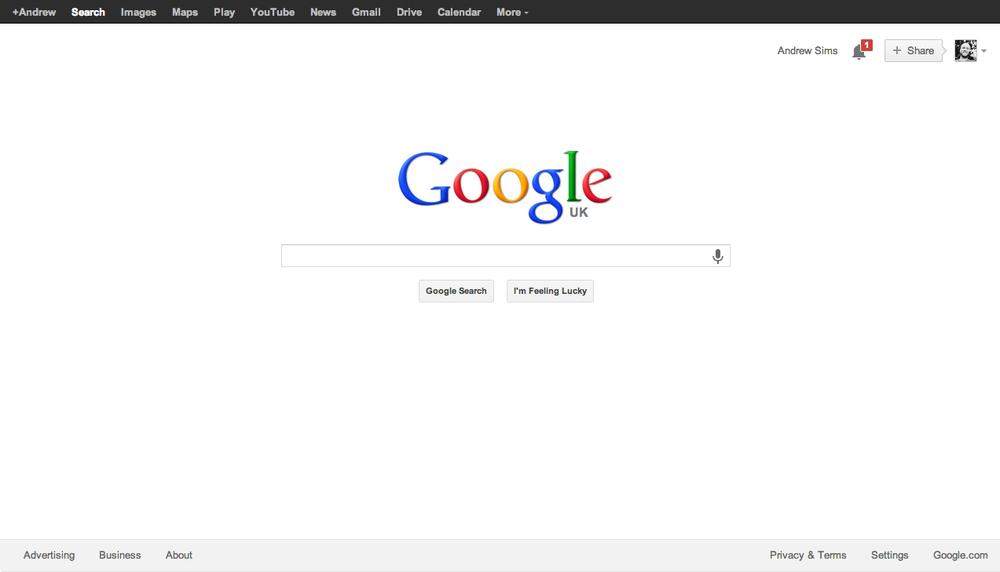 Google's utilitarian homepage