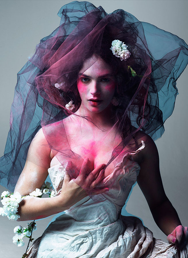 My favourite of all the images, I love the strong powder splashes against the soft femininity of the styling