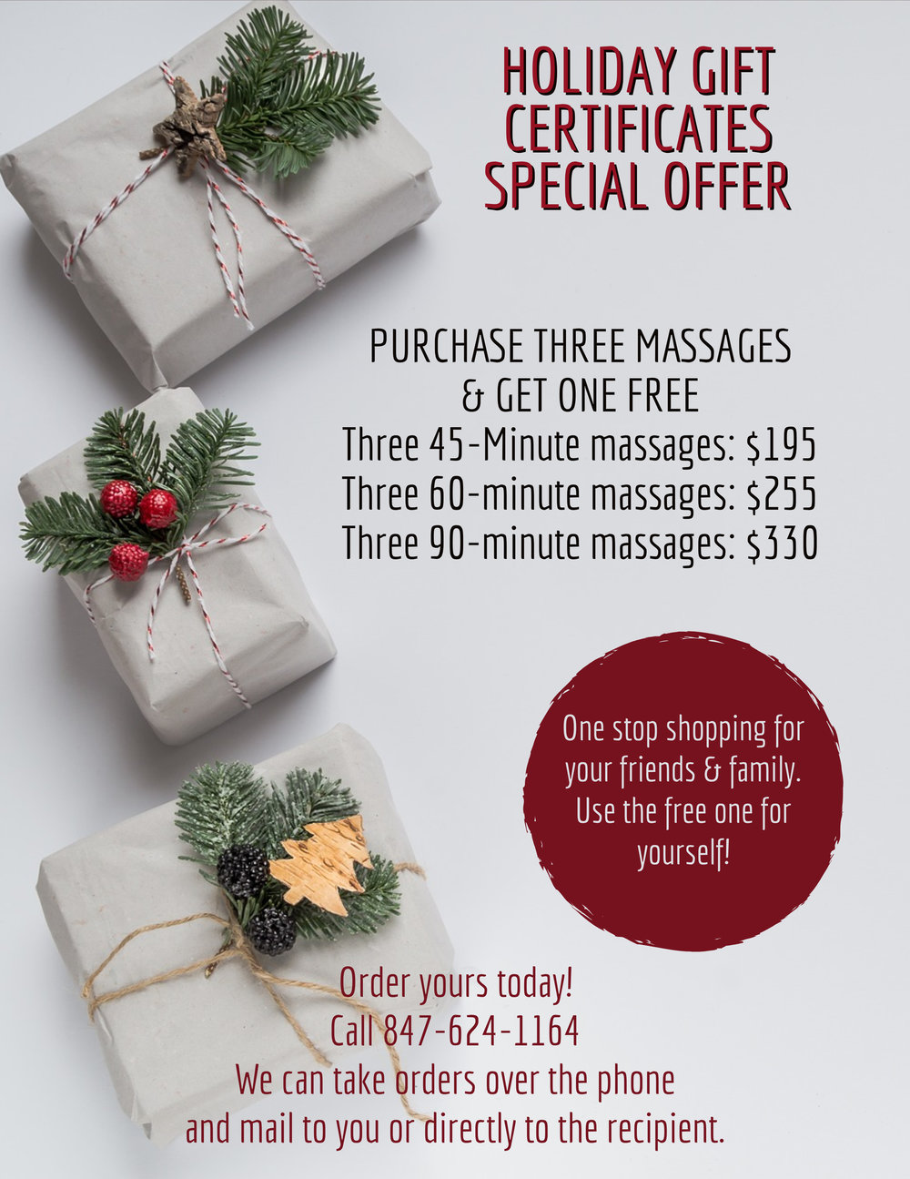 Click image to schedule an appointment or give us a call to purchase gift certificates.