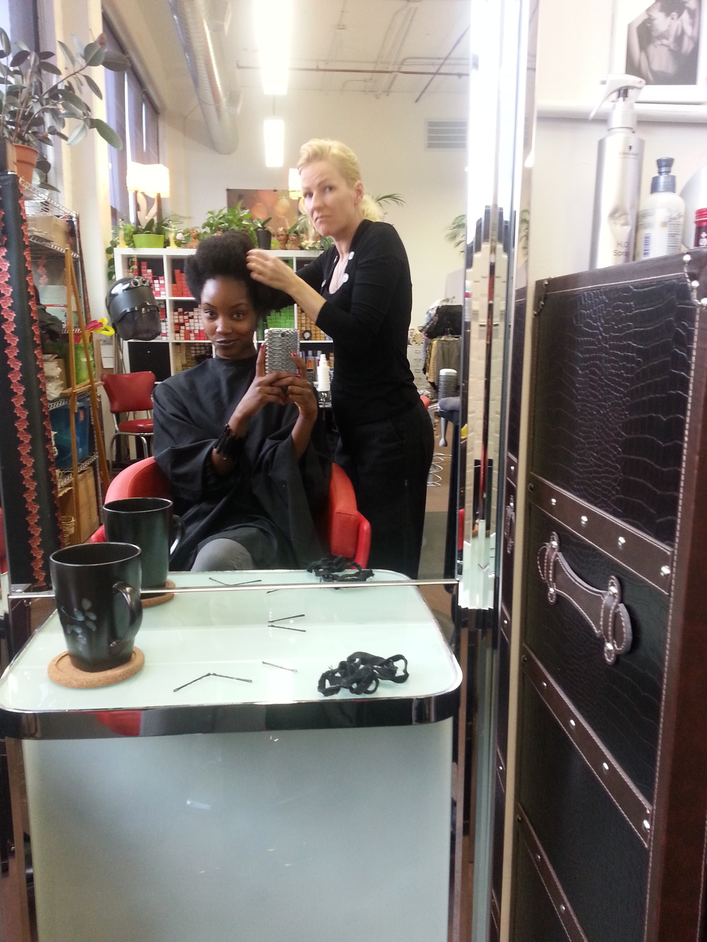 Antje Kastner getting her fingers in my 'fro for a sweet pin-up look...