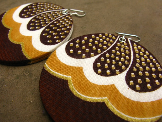 Chocolate Drop African Print Earrings