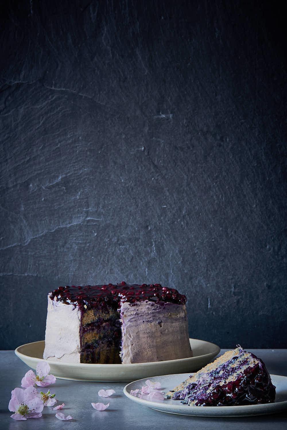 Heidelbeer-Biskuit-Torte - glutenfrei