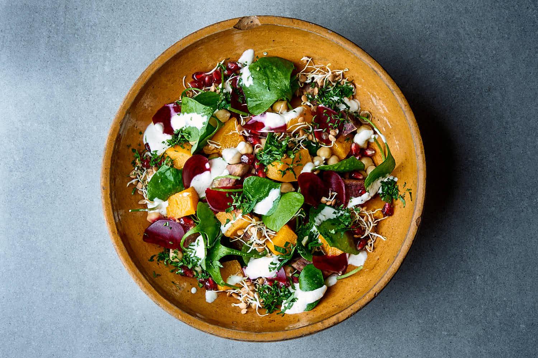 Kichererbsen Spinat Salat Mit Sprossen Rote Bete Rosen Kohl Blog