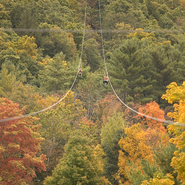Dual racing ziplines at Kittatinny Canoes.