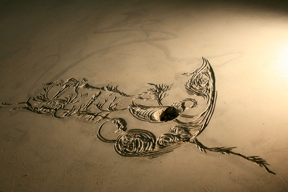 Concrete carving for floor inlay @ Grassroots Fairtrade in Anchorage, AK