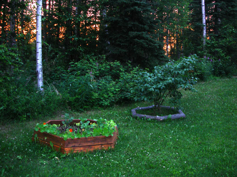 Alaskan lake-home landscaping project. Two hexagons, one from reclaimed decking, the second from dead weathered spruce.