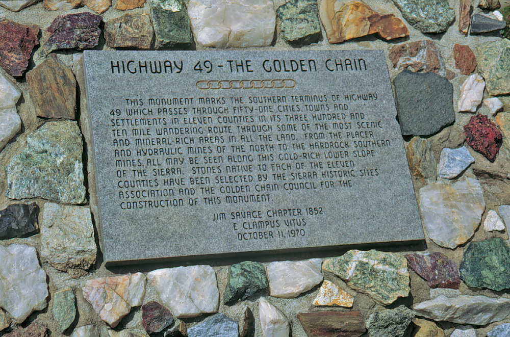 Highway 49 Stone Monument in Oakhurst