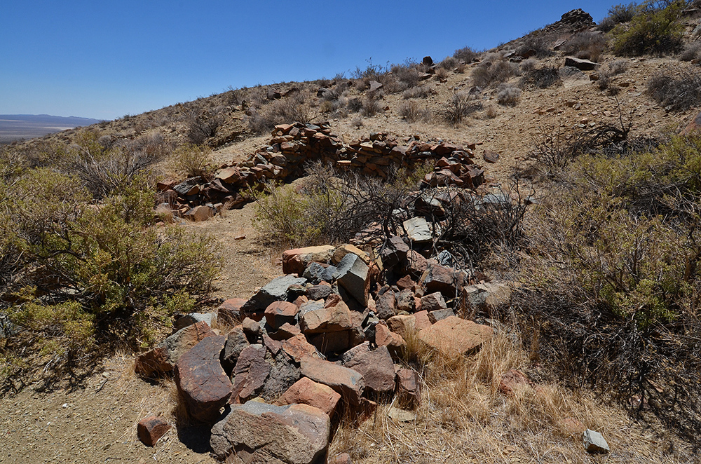 Stone wall cabin ruins.