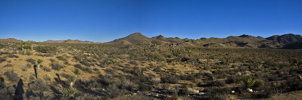 A panorama looking at Samuelson's rockpile from a small hill near the water tank.