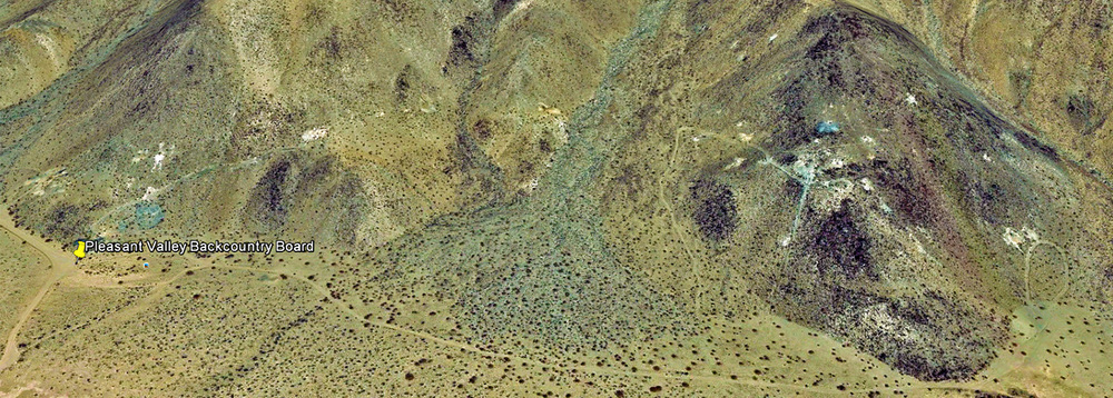 Google Earth view of the Hexie Mountains, showing the numerous tunnels, shafts, drifts and prospect holes in the Gold Coin Claim area.