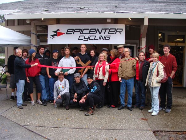 Owners Shawn Wilson and Kazia Pennino  surrounded by family and friends at the ribbon cutting for Epicenter Cycling in Aptos  - Opened 2009