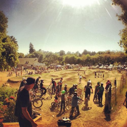 The Aptos pump track swarming with life at the 2013 Santa Cruz Mountain Bike festival. Photo by Alex Reveles.