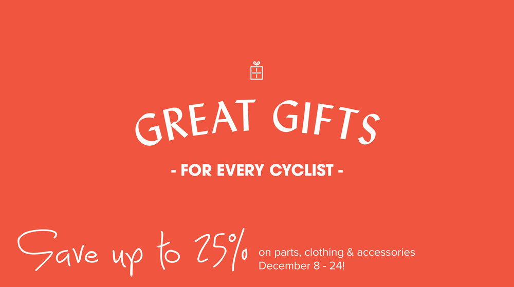 Save up to 25% this season on parts, clothing and accessories. Select bicycles also on sale.