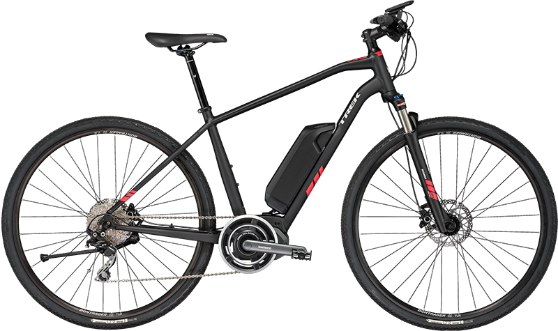 Trek Dual Sport+. Electric Hybrid Bike, ideal for paved & dirt explorations.