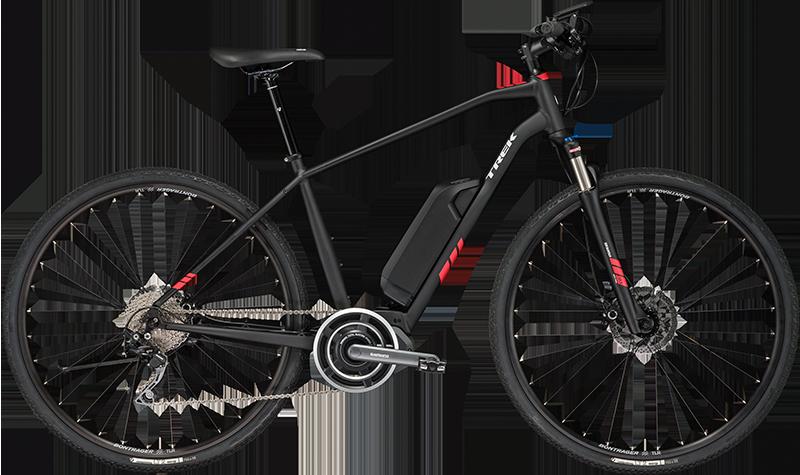 Trek Dual Sport+. Electric Hybrid Bike, ideal for paved & dirt explorations.