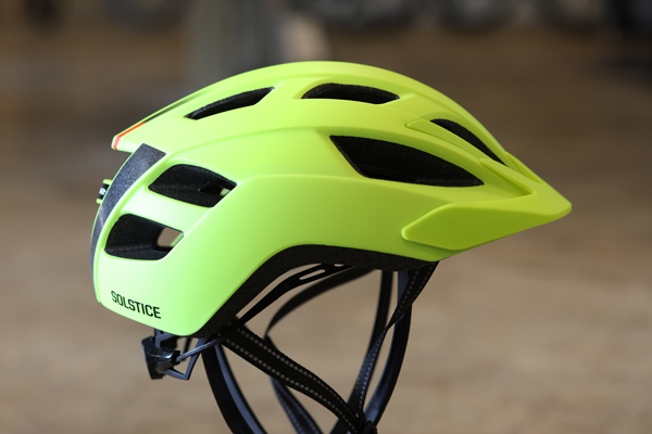 """< Bontrager Solstice MIPS - A great helmet that combines value and purposeful design, the Solstice MIPS accentuates what Bontrager does best. An aerodynamic shape and five-front recessed channels maximize airflow to the top of your head and reduce potential drag as you zip through city streets. Solstice will get you where you need to go by efficiently navigating wind-resistance and keeping you cool, so """"helmet hair"""" isn't a thing when you get to the office. Available in a variety of colorways."""