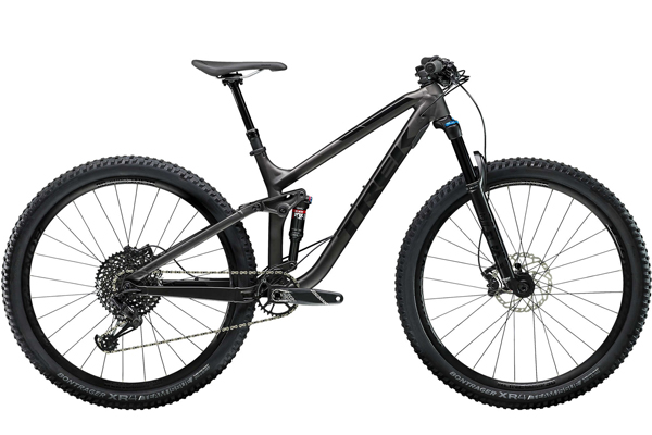 """< Trek Fuel EX 8 29 - Trek Fuel EX 8 29 is the """"do all"""" mountain bike, built to satisfy your ambitions. Trek's Boost system widens both hubs to give 29"""" wheels the stiff handling of 26"""" wheels. This bike was designed with G2 technology which allows 29ers to handle sharp corners precisely at low speeds. With a Mino Link-equipped frame, you have the ability to adjust the bike's head tube to meet the needs of every ride."""