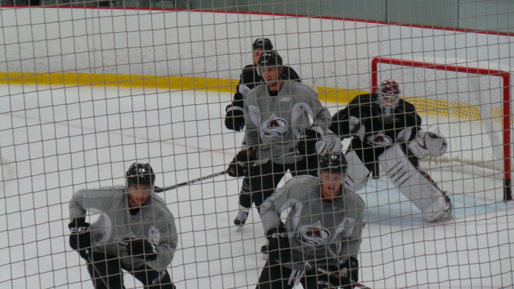 Avs players scrimmage on the opening day of training camp.