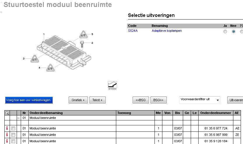 Detail uit de BMW onderdelen catalogus. De beenruimte module is een kostbaar onderdeel waarbij na vervanging ook nog eens coderen noodzakelijk is.