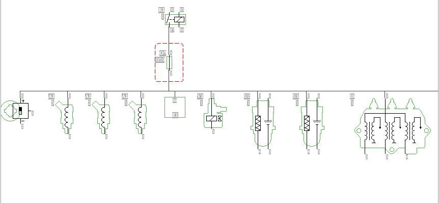 Deelschema van het circuit waar de zekering van defect ging.