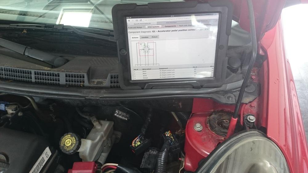 Ipad met elektrische schema's bij de hand is makkelijk en snel werken.