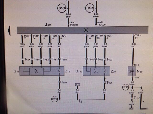 Een deel van het stroomloopschema van het motormanagement systeem