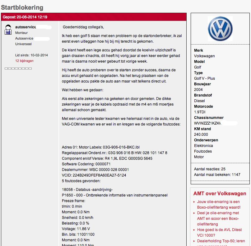 """Topic op het AMT Garageforum waarin de vraag wordt voorgelegd """"VW Golf V met probleem in de startblokkering"""""""