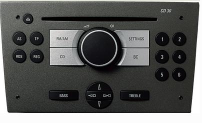 Voorbeeld van de CD30 audio-unit van Opel