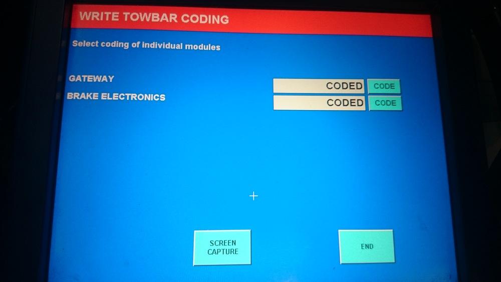 Coderen van een trekhaak: In dit geval alleen maar de gateway en het ABS/ESP systeem