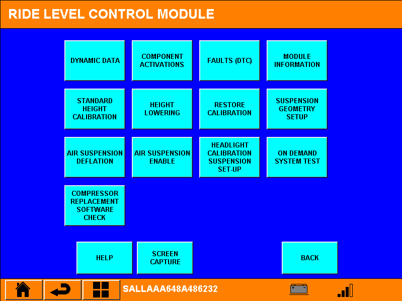 "Inside de Ride Level Module. Hier kiezen we voor de knop ""compressor replacement software check"""