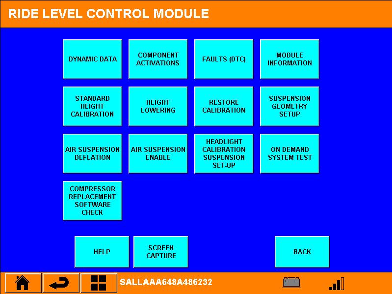 """Inside de Ride Level Module. Hier kiezen we voor de knop """"compressor replacement software check"""""""