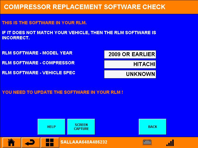 De controle laat zien dat in deze Discovery de software voor een Hitachi compressor geprogrammeerd staat