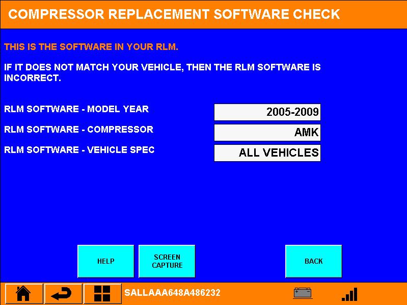 Juiste software in de Ride Level Module voor een AMK compressor