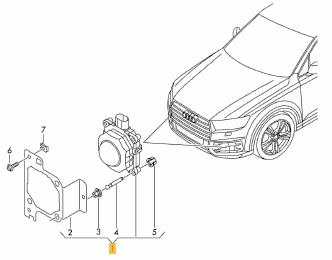 De Audi Q7 heeft twee radar modules voor de adaptieve cruise control aan boord