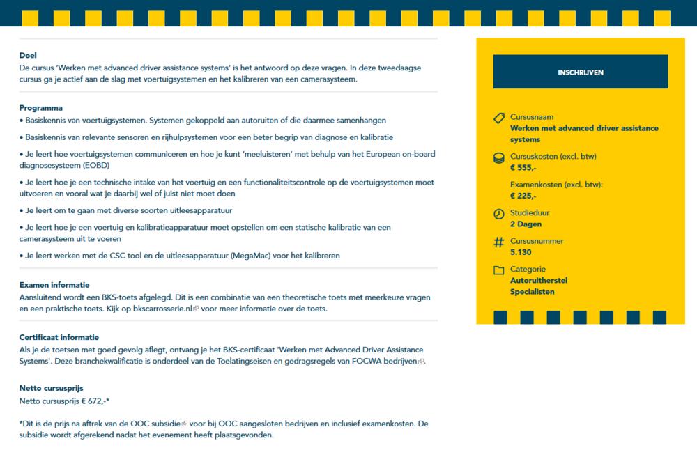 """Beschrijving van de VOC training """"Werken met Advanced Driver Assistance Systemen"""