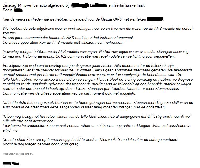 Tweede gedeelte van de email