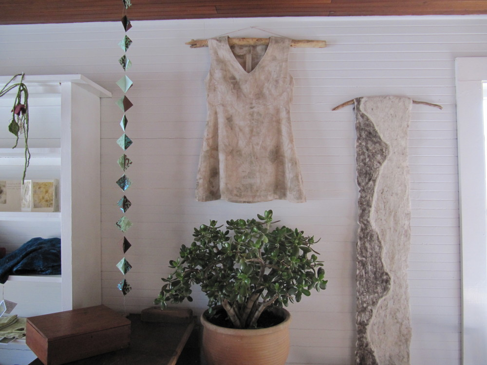 Eco Printed Linen Tunic, Nuno Felt Scarf or Hanging (natural colored supefine merino wool, tussah silk, backed with cashmere) - oh yes, and the jade tree I've been dragging around with me for 12 years.  It seems to be very happy here.