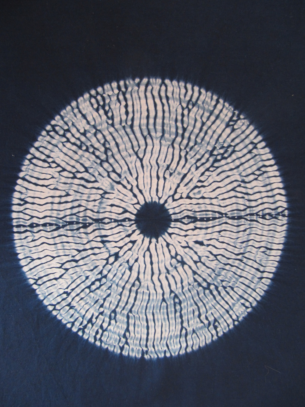 Mokume Shibori, natural indigo on cotton sateen