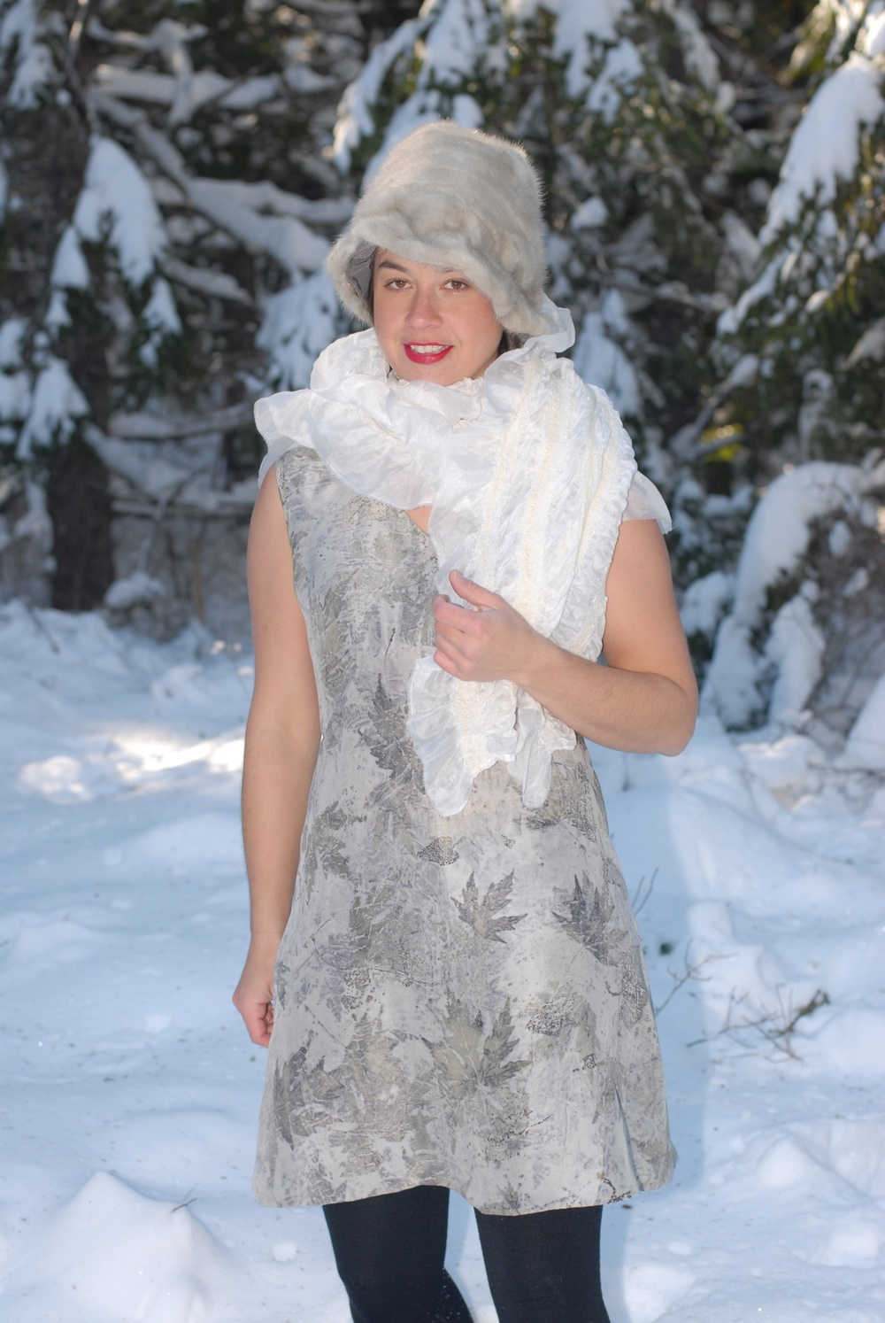 Eco Printed Dress - silver maple and tufted bindweed; original pattern.  Nuno felted shawl.