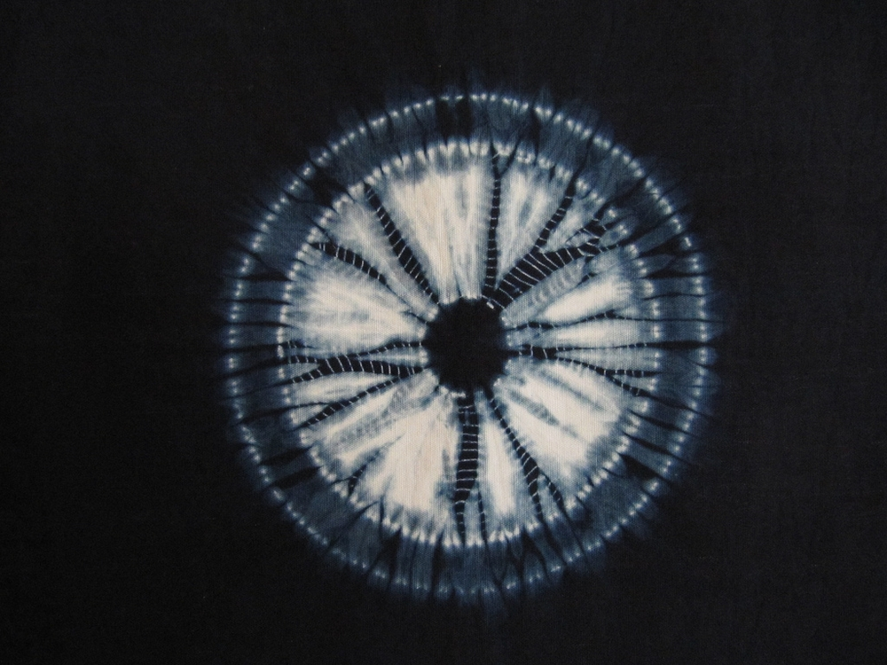 Stitched Shibori detail, cotton and natural indigo