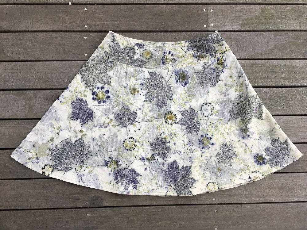 Bias cut skirt with shaped waistband, side zipper, size 4