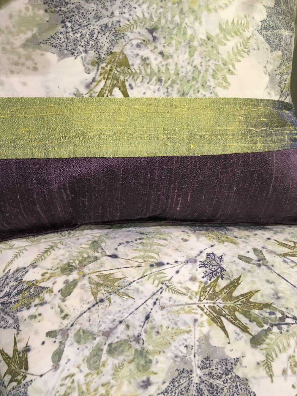 Silk broadcloth printed with bracken fern, oak leaves, crimson Norway maple, red swamp maple samaras, bordered with Dupioni silk