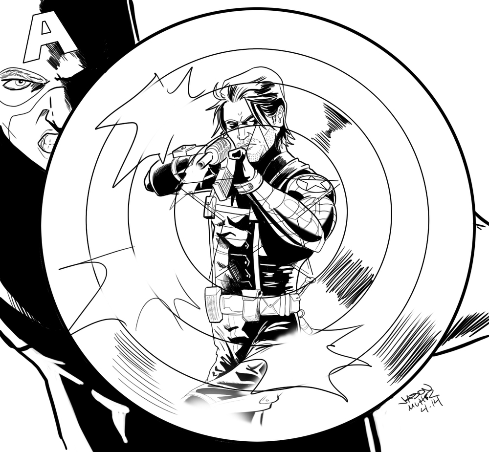 Daily Sketch Captain America Vs The Winter Soldier Jason Muhr