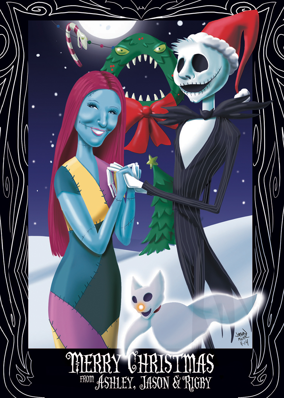 "2014 card, based on ""The Nightmare Before Christmas"""