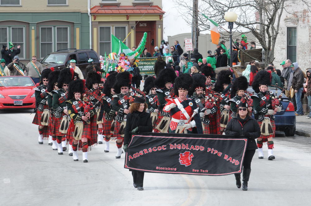 3/7/2015 - Wappingers Falls, NY - The Amerscot Highland Pipe Band leads the annual St. Patrick's Day Parade held in Wappingers Falls, now in its 20th year.