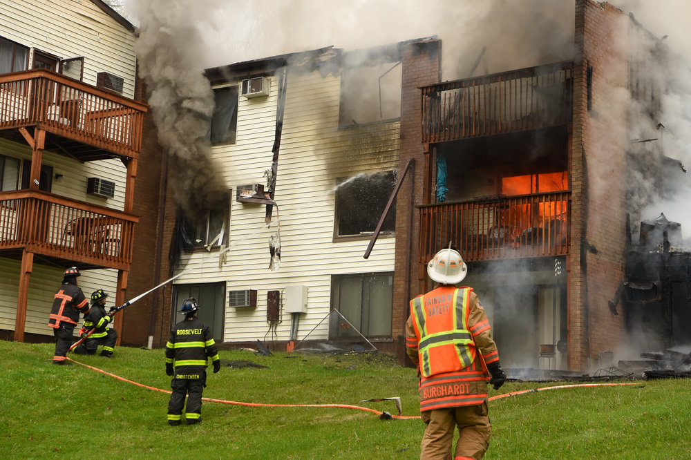 5/4/2016 - Hyde Park, NY - Firefighters battle a blaze at The Arbors, an apartment complex off of Route 9.