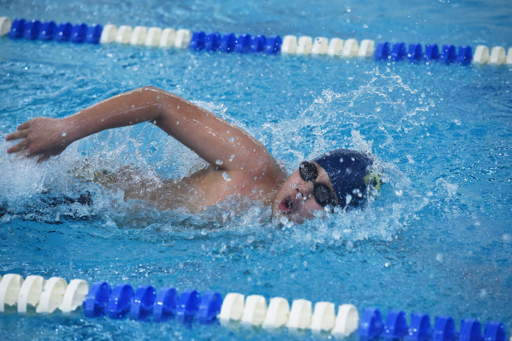 1/28/17 - Beacon, NY - Lourdes' Raymond Aye swims in a 200 yard freestyle heat during the Section 1 Conference 3 boys swimming championships at Beacon High School.