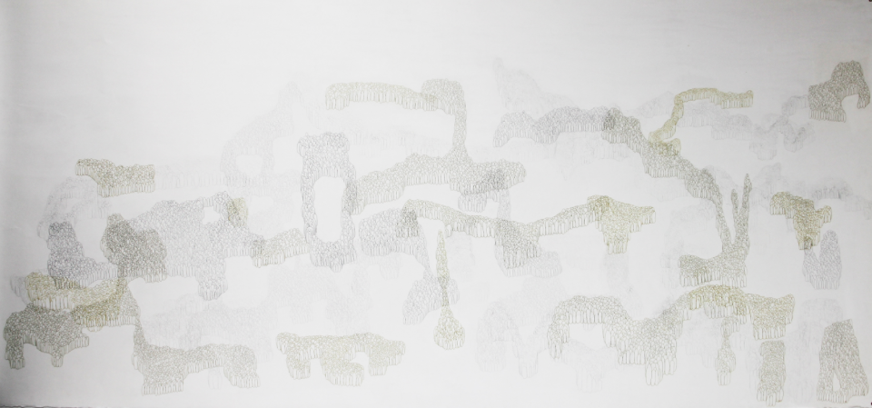 Palimpsest #1, 2006-2013. Lead Pencil and Gold Pen on Paper. 42 in x 90 in.