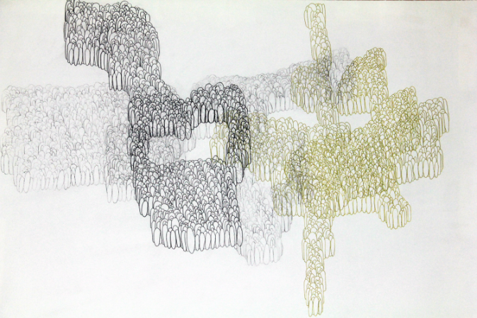 Palimpsest #3, 2008. Lead Pencil and Gold Pen on Paper. 20 in x 26 in.