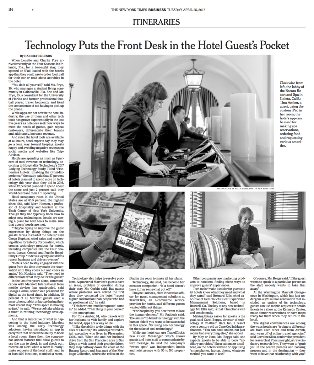 "The New York Times - ""Putting the Front Desk in the Hotel Guest's Pocket"""